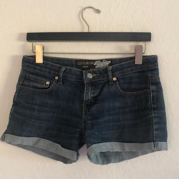 Cotton On Pants - Dark Blue Denim Shorts
